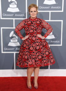 Award-winning British singer Adele was decked out in a high-collared floral dress and matching shoes. The dress, though cute in itself, did not flatter Adele's figure. The effect of the wide skirt made her look wider and bigger. Courtesy of Google Images