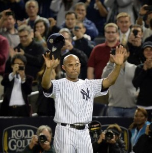 Rivera salutes his home stadium crowd on his final night at the stadium.