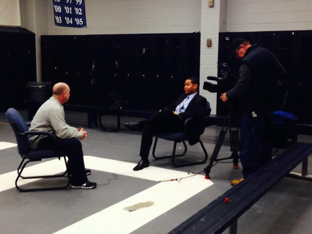 ABC 7 comes to South to interview Coach Antonucci. Throughout the week of January 21st journalists from all over the United States have braved extreme weather and flocked to South to hear first-hand how Knowshon Moreno's former coach and Alma Mater feel about his upcoming debut in Super Bowl XLVIII.