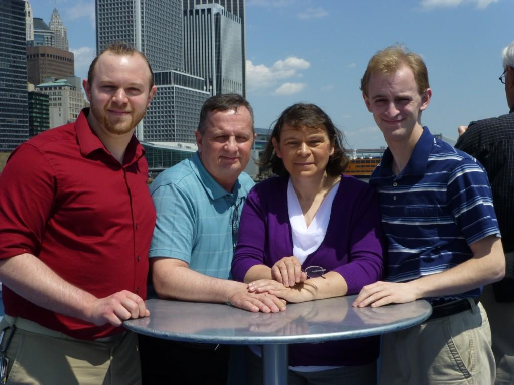 Left to right: son Kevin, husband Dennis, Mrs. Coffey, and son Sean