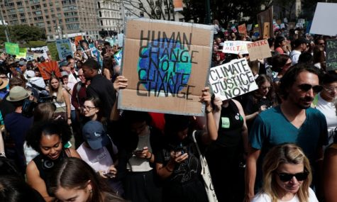 Activists participate in the Global Climate Strike in New York City on September 20