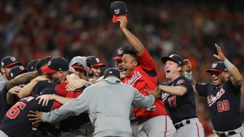 Washington National players celebrate their first-ever World Series win.