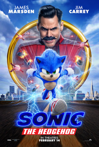 A Sonic the Hedgehog (2020) poster featuring main characters Sonic and Robotnik. Photo courtesy of IMDb.